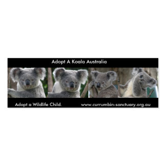 Bookmark Koalas Adopt a Wildlife Child Australia Pack Of Skinny Business Cards