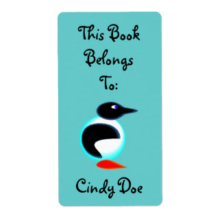 Bookplate Book Label Fun Penguin Bird Neon Cute