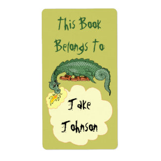 Bookplate Dragon Breathes Name Book Label Belongs Shipping Label