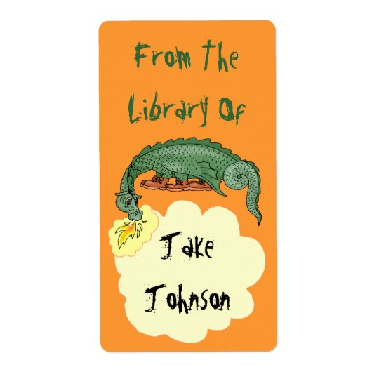 Bookplate Dragon Breathes Name From The Library Of