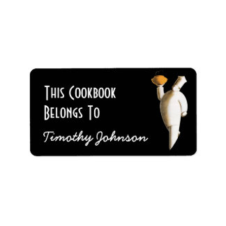 Bookplate Ex Libris Name Chef Cookbook Belongs To Label