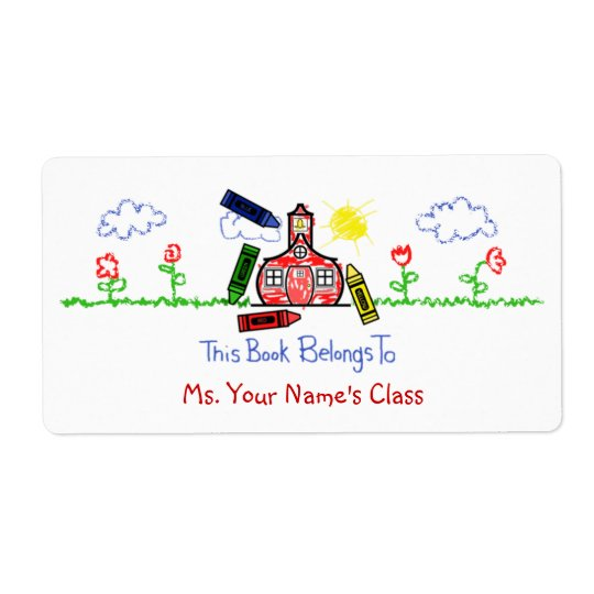 Bookplate Label for Teachers - Crayon Schoolhouse