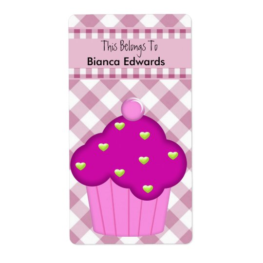 Bookplate Label Teens Kids Book Pink Cupcake Check Shipping Label
