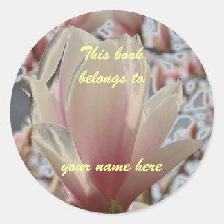 bookplate magnolia classic round sticker
