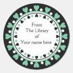 Bookplate - Pista Hearts white Polka Dots Round Sticker