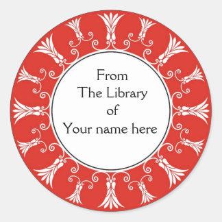 Bookplate - Red Flourish Flowers Classic Round Sticker