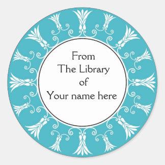 Bookplate - Teal Flourish Flowers Classic Round Sticker