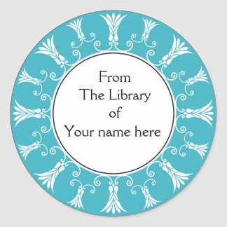 Bookplate - Teal Flourish Flowers Round Stickers