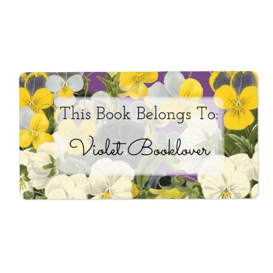 Bookplate Violets and Pansy Floral Custom Label