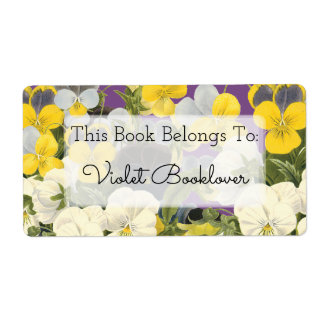 Bookplate Violets and Pansy Floral Custom Label Shipping Label