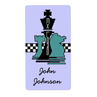 Bookplates Ex Libris Chess Game Pieces King Rook Shipping Label