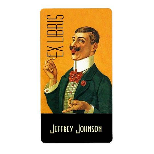Bookplates Ex Libris Vntg Dapper Dressed Gentleman