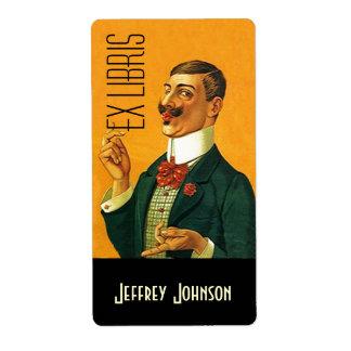 Bookplates Ex Libris Vntg Dapper Dressed Gentleman Shipping Label