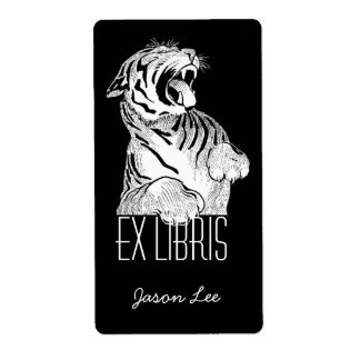 Bookplates Ex Libris White Tiger Big Cat On Black Shipping Label