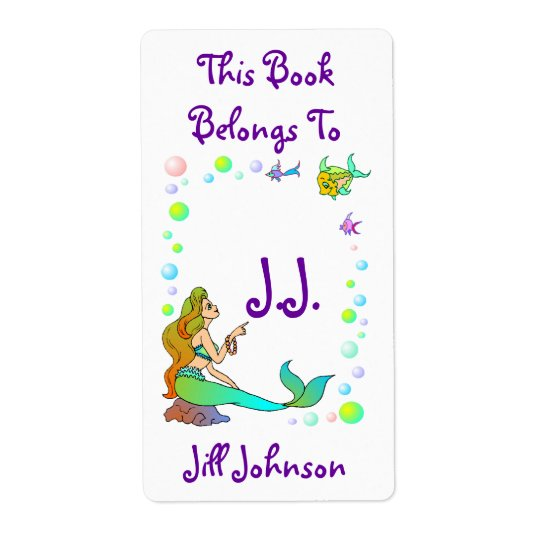 Bookplates Sea Mermaid Points @ Initials Labels