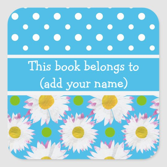 Bookplates to Personalise: Polkas, Daisies on Blue Square