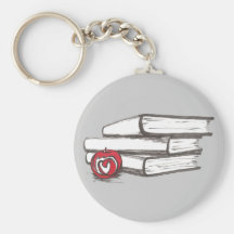 Books + An Apple | Customisable Basic Round Button Key Ring