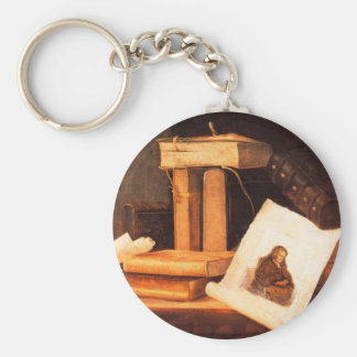 books and a Rembrandt etching by Stoskopff Key Chains