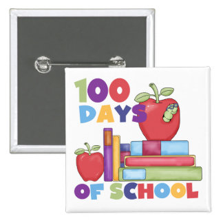 Books and Apples 100 Days of School Tshirts Buttons