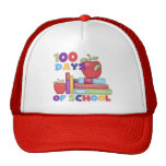 Books and Apples 100 Days of School Tshirts Mesh Hats