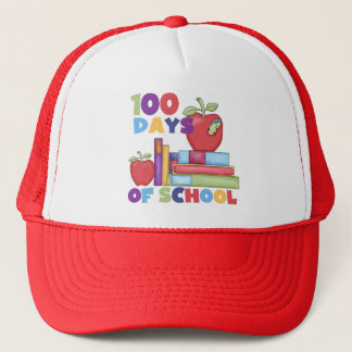 Books and Apples 100 Days of School Tshirts Trucker Hat