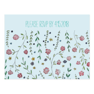 Books & Blossoms RSVP Cards Postcard