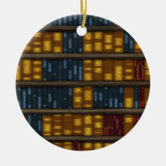 Books, Books, Books - Bookshelf Pattern Christmas Ornament