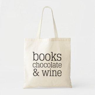 Books Chocolate & Wine Tote Bag