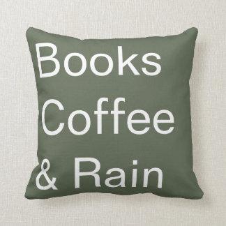 Books Coffee & Rain Throw Pillow
