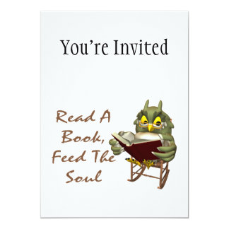 "Books Feed The Soul Wise Owl 5"" X 7"" Invitation Card"