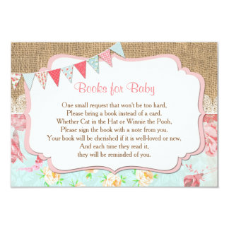 Books for baby, bring a book insert, shabby chic card