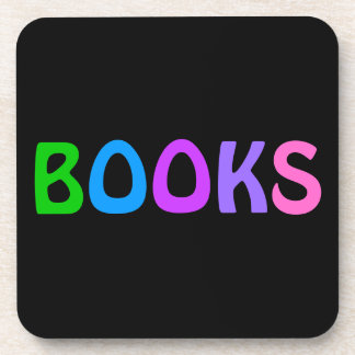 BOOKS in Colorful Lettering on a Black Background Drink Coaster