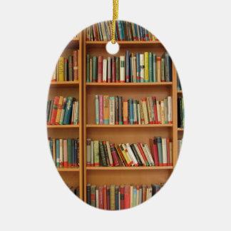 Books in the bookshelf christmas ornament