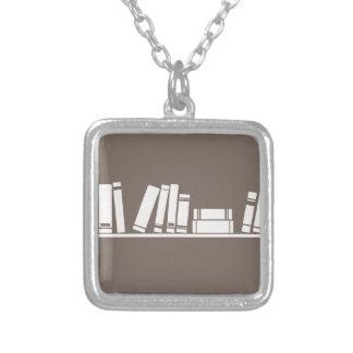 Books lovers! square pendant necklace