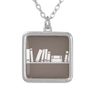 Books lovers! square pendant necklace