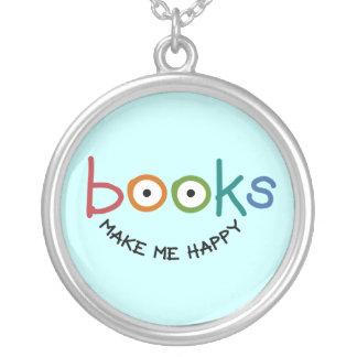 Books Make Me Happy Round Pendant Necklace