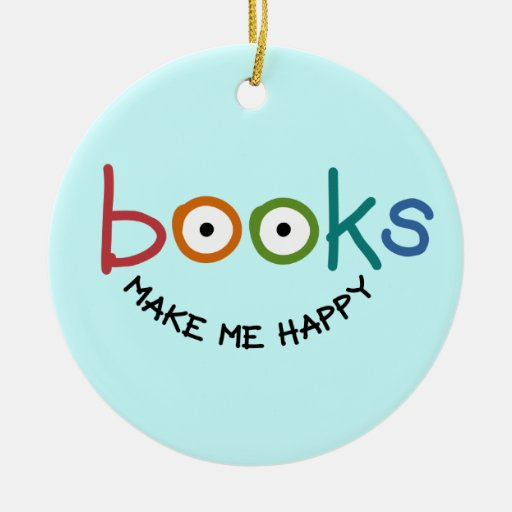 Books Make Me Happy Round Ceramic Decoration