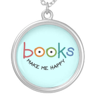 Books Make Me Happy Round Pendant Necklace