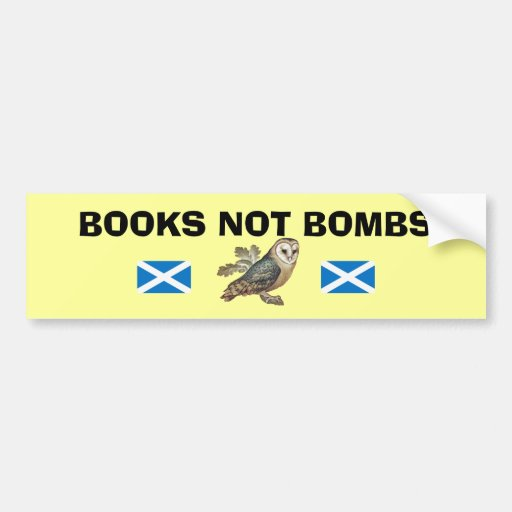 Books Not Bombs Scottish Independence Owl Sticker Bumper Stickers