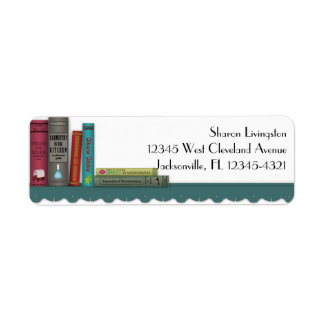 Books on a Shelf Label Return Address Label