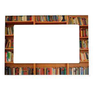 Books on Bookshelf Background Magnetic Picture Frame