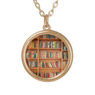 Books on Bookshelf Background Custom Jewelry
