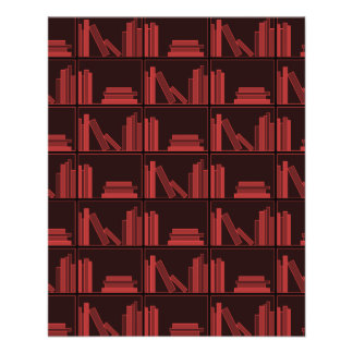 Books on Shelf. Dark Red. 11.5 Cm X 14 Cm Flyer