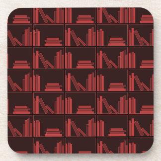 Books on Shelf. Dark Red. Drink Coasters