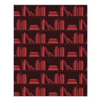 Books on Shelf. Dark Red. Flyer