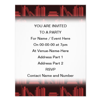 Books on Shelf Dark Red Personalized Invites