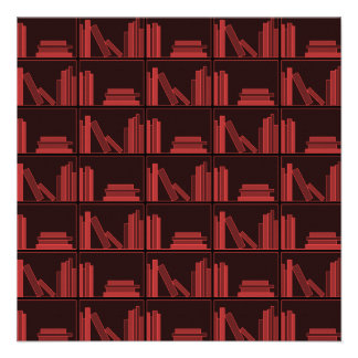 Books on Shelf Dark Red Custom Announcements