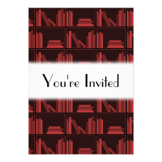 Books on Shelf Dark Red Personalized Invitation