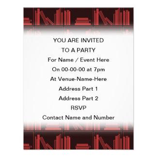 Books on Shelf Dark Red Personalized Invites