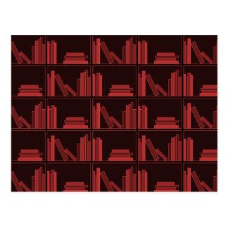 Books on Shelf Dark Red Post Card